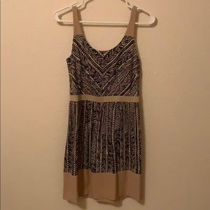 Navy and tan printed dress.
